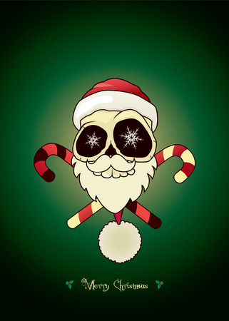 morbid: Santa skull with crossed candies.Unusual cartoon Christmas character. Christmas card vector illustration Illustration