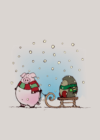 Maiale e riccio con scarfs.Sweet guardando cartoni animati scena characters.Winter illustrazione