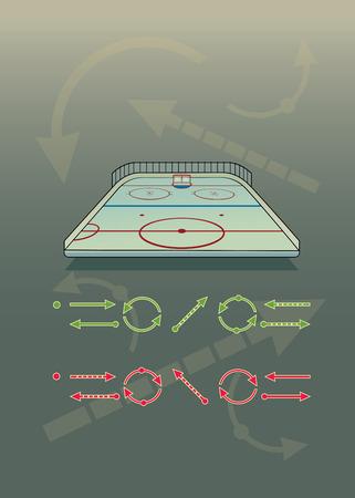 hockey rink: Ice hockey rink and tactics arrows set.isolated vector illustration