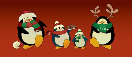 pinguinos navidenos: Lindo mirando pingüinos de Navidad