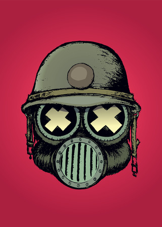 gas mask warning sign: War skull.Unusual cartoon style skull with gas mask and helmet:Isolated on red Illustration