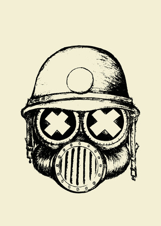 nuclear fear: War skull.Unusual cartoon style skull with gas mask and helmet.coloring book illustration Illustration