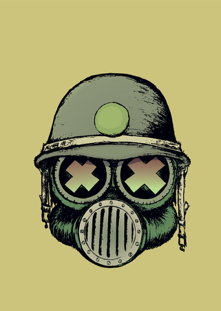 nuclear fear: Cartoon style war skull with gas mask and helmet