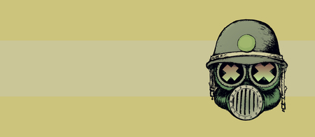 gas mask warning sign: Cartoon style war skull with gas mask and helmet.Horizontal banner design
