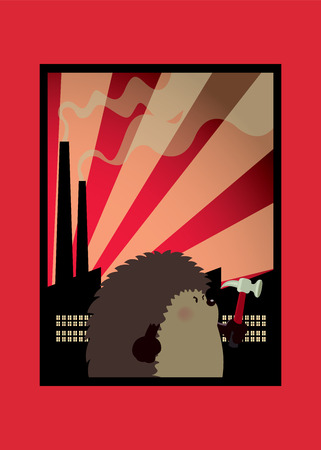 Funny poster design with cute looking hedgehog worker.Factory silhouettes at dawn in background.vector illustration