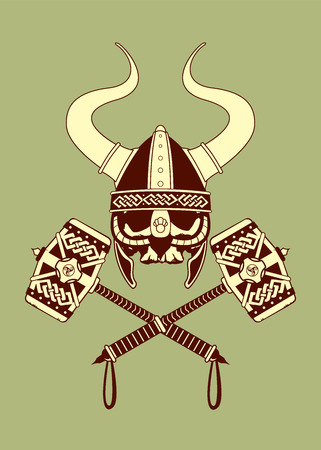 horned: Viking skull with horned helmet and two crossed war hammers.