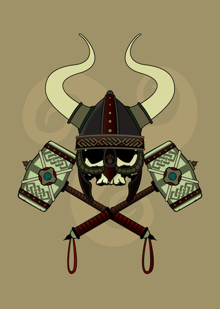 hammer head: Viking skull with horned helmet and two crossed war hammers.Vector illustration