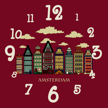 amsterdam: Amsterdam houses.Colorful vector illustration of old Amsterdam houses.Clock design
