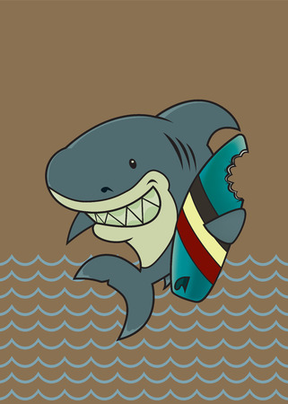 jaws: The great white surfer.Funny looking surfer shark cartoon character Illustration