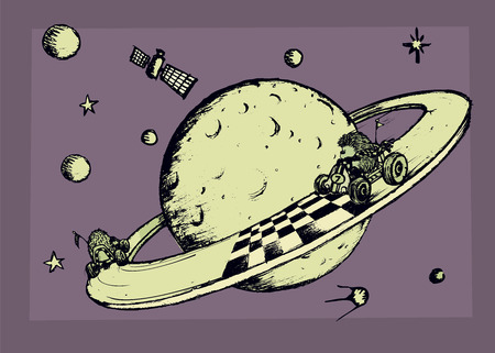 imaginary: Space race.Two hedgehogs racing around imaginary planet. Illustration