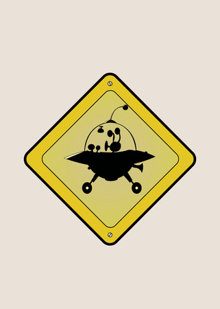 yellow beware: UFO crossing sign.Isolated vector illustration Illustration