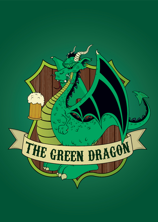 Green Dragon.Imaginary tavern sign.isolated vector illustration