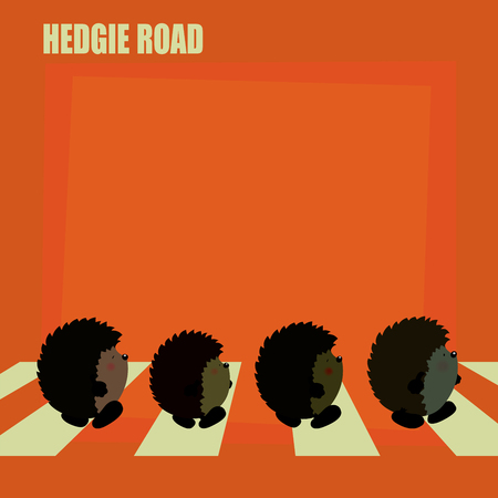 parody: Hedgie road.Four cute hedgehogs crossing the road.Fun parody poster design Illustration
