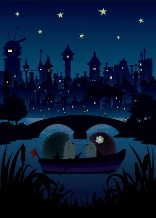 Erizos en los pequeños erizos night.Two flotando en el río, una bonita noche romántica bajo las estrellas con las luces de la ciudad y las siluetas del puente en la ilustración background.Vector Ilustración de vector