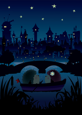 city lights: Hedgehogs in the night.Two little hedgehogs floating on the river, a nice romantic night under the stars with the city lights and bridge silhouettes in background.Vector illustration Illustration