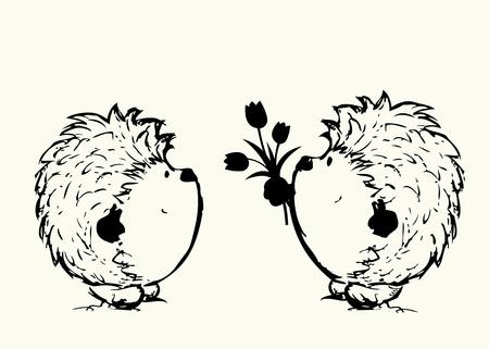 deux hérissons avec des fleurs. croquis illustration vectorielle