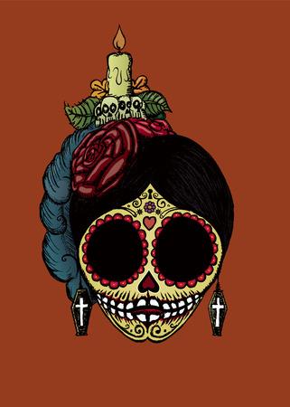 La Catrina sugar skull.vector illustration