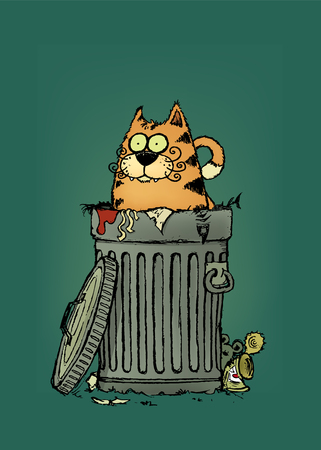 Stray cat.Tubby cat in trashcan.Cartoon character.vector illustration