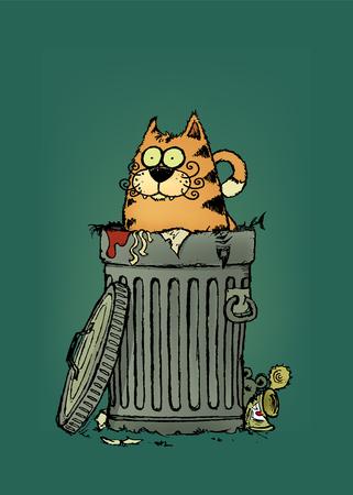Stray cat.Tubby cat in trashcan.Cartoon character.vector illustration