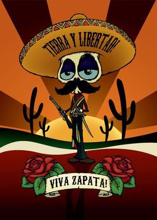 calavera caricatura: ¡Viva Zapata! Ejemplo esquelético del carácter de la historieta del diseño de Emiliano Zapata.Poster