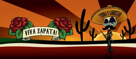 calavera caricatura: ¡Viva Zapata! Ejemplo esquelético del carácter de la historieta de Emiliano Zapata.