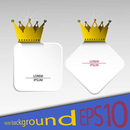 headings: Vector abstract banners with gold crowns and stones