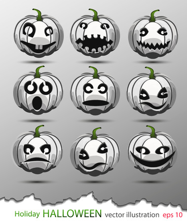Vector set of white pumpkins with different emotions in honor of the Halloween holiday