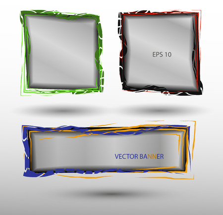 Translucent abstract vector banners in different colors Çizim