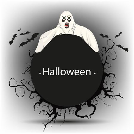 Banner redondo negro con un fantasma en Halloween Foto de archivo - 85278669