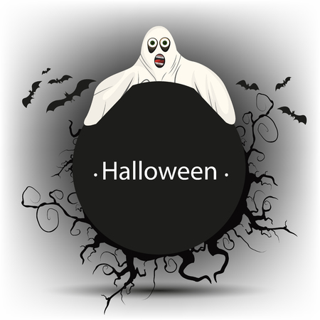 Black round banner with a Ghost on Halloween Illustration