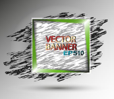 Abstract square banner with green frame