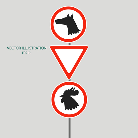 2018 New Year Concept; Silhouette illustration icon of dog and rooster on the road sign with the sign giving way to the new year 2018. Illustration