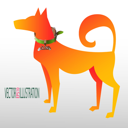 2018 New Year Concept; Dog with a collar of 2018 in colored silhouette illustration which can be use for background, label, emblem, card, poster