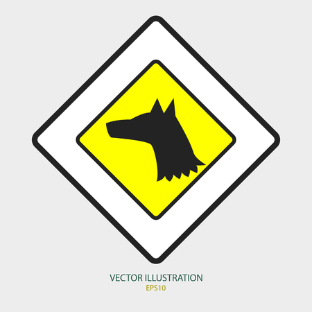 Dog on the yellow sign for the new year 2018 向量圖像