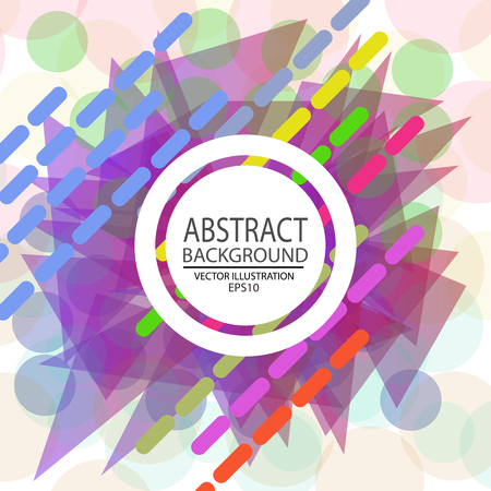 Abstract geometric background with multicolored vector from circles, triangles, lines and ovals for screen saver, banner