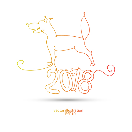 2018 dog with one line for the new year ... Illustration