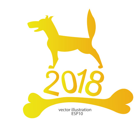 2018 a yellow dog with a bone for the new year for a logo, emblem, background, banner ...