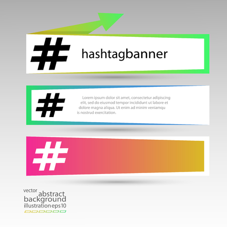 Hashtag banner rectangular set