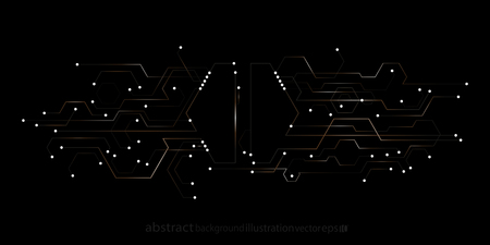Abstract geometric background from hexagons stripes, lines, and circles in the form of microcircuits Illustration