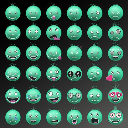 Emoticon divertente in colore verde set vettoriale Archivio Fotografico - 91755436