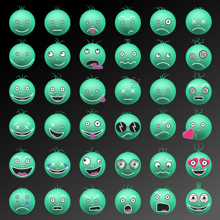 Funny emoticon in color green vector set