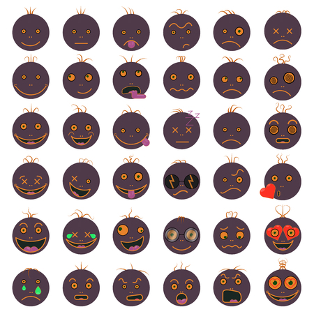 Circle with different emotions,  emoji,  in color gray illustration.