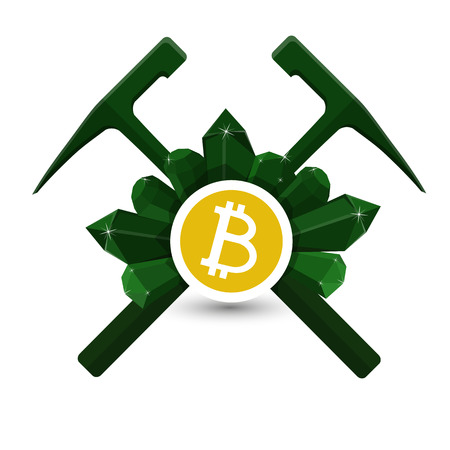 Bitcoin extraction emblem, icon with geological hammers and crystals vector. Фото со стока - 91757720