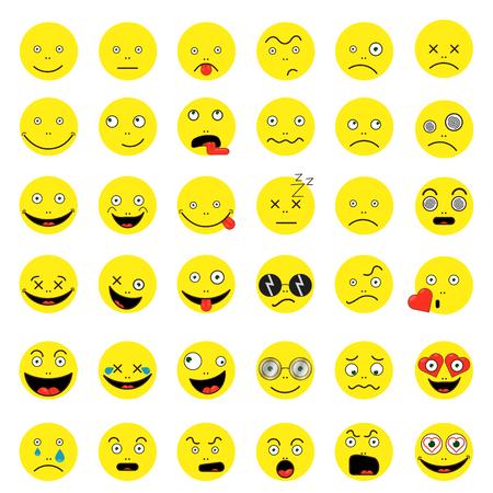 Set of funny smileys Vector illustration.
