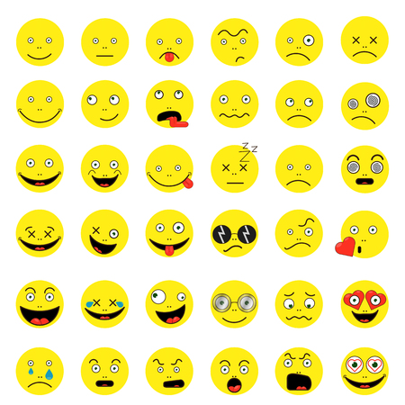 Set of funny smileys Vector illustration.