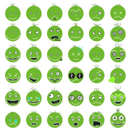 Insieme verde divertente divertente di emoticon. Archivio Fotografico - 91755324