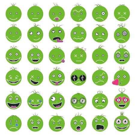 Smileys lustige lustige grüne Vektor Set EPS 10