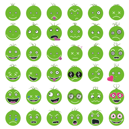 Smileys funny funny green vector set eps 10