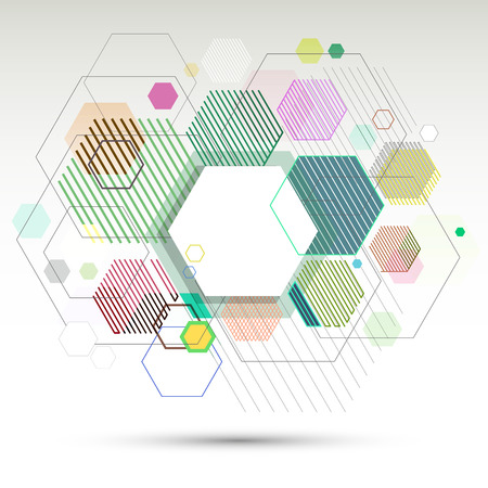 Abstract geometric background and banner of hexagons