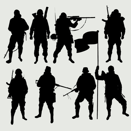 The set of images of soldiers silhouettes vector EPS10